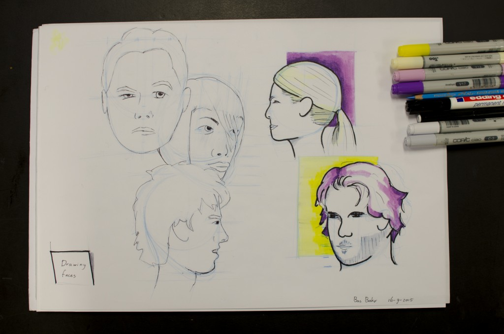 Drawing faces practice
